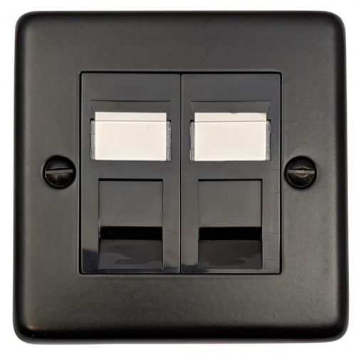 G&H CFB64B Standard Plate Matt Black 2 Gang Slave BT Telephone Socket